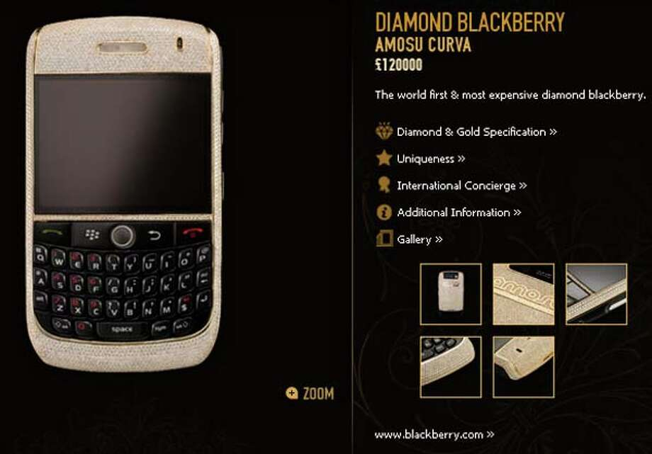 Take a look at these items that are no doubt targeted for people who have more money than sense.  This diamond Blackberry by Amosu will set you back around $164k.  While you're in the giving mood, the company also has a service where you can pick your own phone number for $7,500.  Wonder if 867-5309 is already taken...