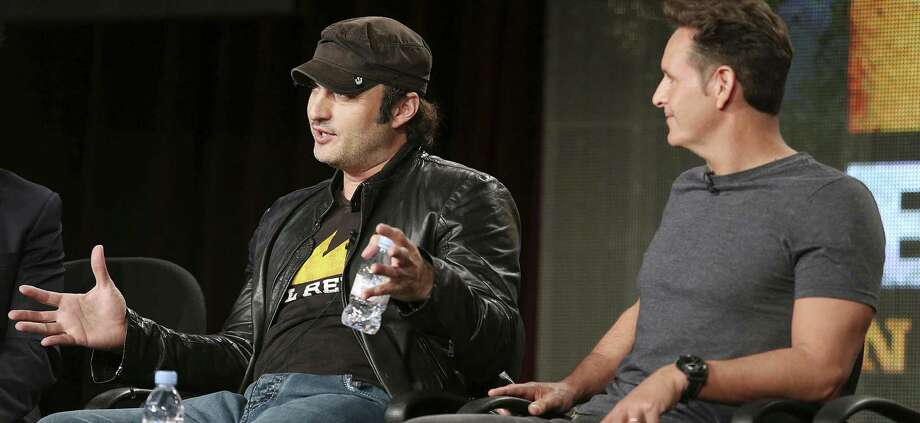 Filmmaker Robert Rodriguez (left) and producer Mark Burnett discuss the new El Rey network during the 2014 Winter Television Critics Association press tour in Pasadena earlier this month. Photo: Frederick M. Brown / Getty Images / 2014 Getty Images