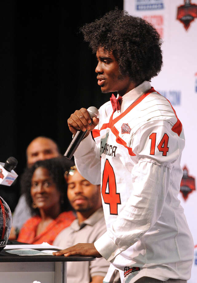 Panther's cornerback Tony Brown addresses his teamates Friday after putting on his new jersey as a 2014 Under Armour All-America high school football athlete at Ozen on Friday. Photo taken September 19, 2013 Guiseppe Barranco/The Enterprise Photo: Guiseppe Barranco, STAFF PHOTOGRAPHER / The Beaumont Enterprise