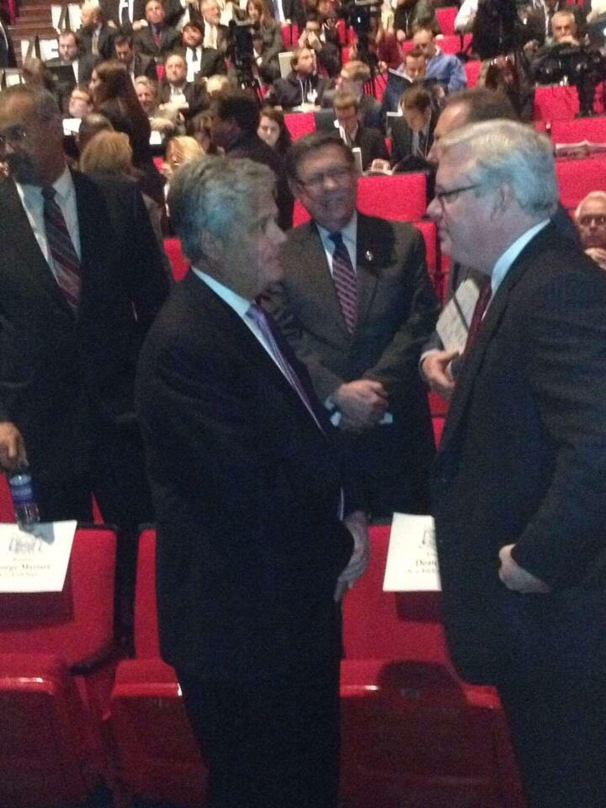 Senate Co-President Dean Skelos arrives for Gov. Andrew Cuomo's budget address. (Bryan Fitzgerald / Times Union)