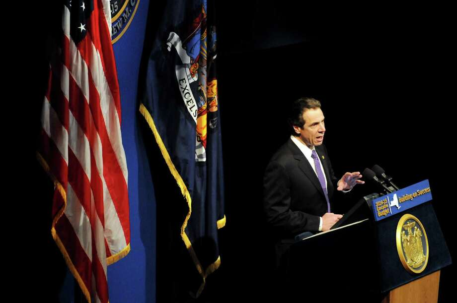 Gov. Andrew Cuomo presents the state budget on Tuesday, Jan. 21, 2014, at The Egg in Albany, N.Y. (Cindy Schultz / Times Union) Photo: Cindy Schultz / 00025437A