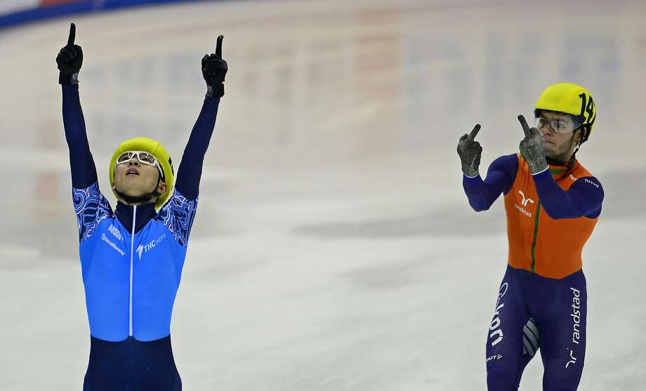 We see your Richard Sherman, Seattle, and raise you one Sjinkie Knegt: The Netherlands' Sjinkie Knegt (right) salutes Russia's Victor An after Russia won the men's 5000m relay at ISU European Short Track speed skating Championships in Dresden, Germany. Photo: Robert Michael, AFP/Getty Images