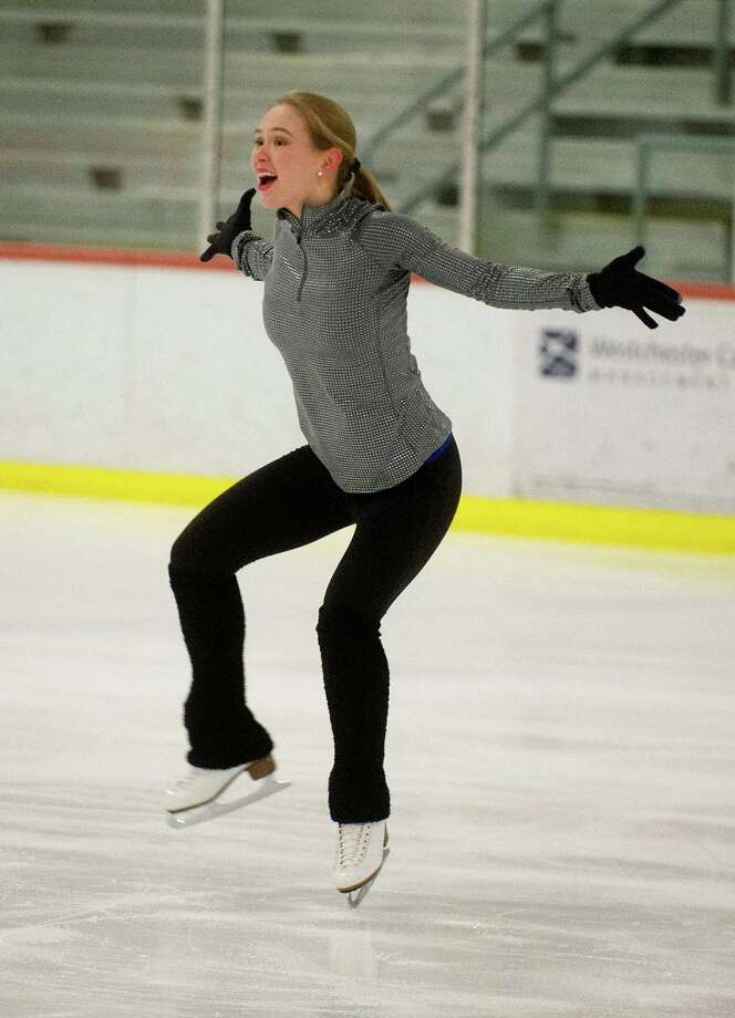 Siobhan Heekin-Canedy of Stamford practices her ice dancing routine at the Ice House in Hackensack, New Jersey, on Tuesday, January 21, 2014. Heekin-Canedy and her partner, Dmitri Dun, will compete for Ukraine in the Sochi Olympics. Photo: Lindsay Perry / Stamford Advocate