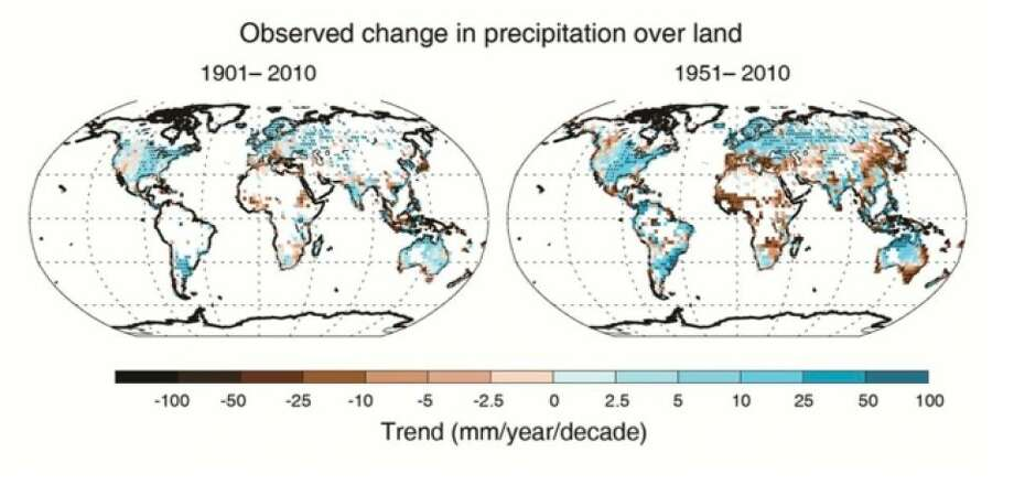 Maps of observed precipitation change from 1901 to 2010 and from 1951 to 2010 (trends calculated using the same criteria as in Figure SPM.1b) from one data set. For further technical details see the Technical Summary Supplementary Material. (Graphic from the The Intergovernmental Panel on Climate Change)