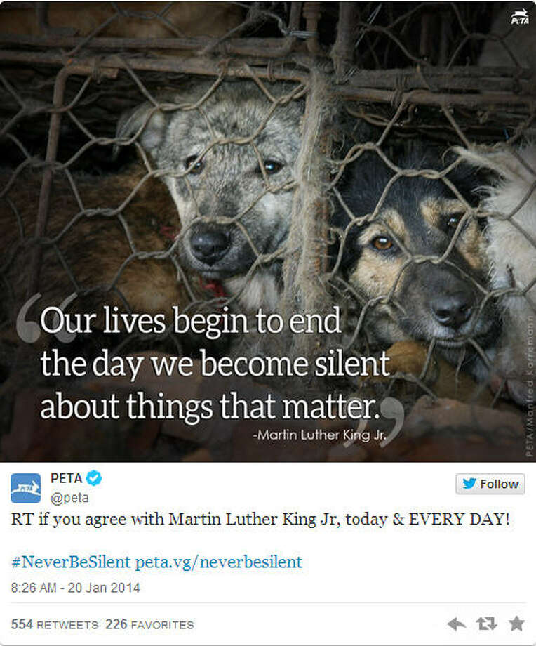 People for the Ethical Treatment of Animals or PETA didn't do themselves any favors on MLK Day either. The group seemingly appropriated the black Civil Rights Movement for animals. Some people took to Twitter to express outrage that PETA would equate animals with the struggle of black people.