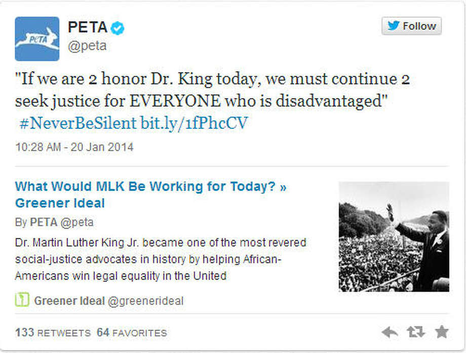People for the Ethical Treatment of Animals or PETA didn't do themselves any favors on MLK Day either. The group seemingly appropriated the black Civil Rights Movement for animals. Some people took to Twitter to express outrage that PETA would equate animals with black people.
