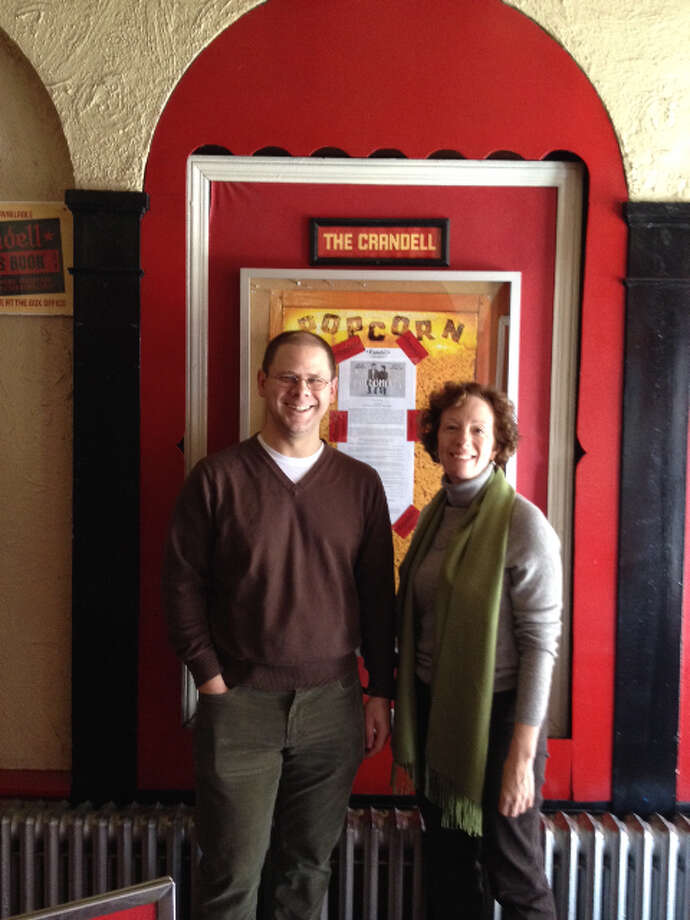 New Chatham Film Club board president Fred Ulrich and retiring founding president Sandi Knakal