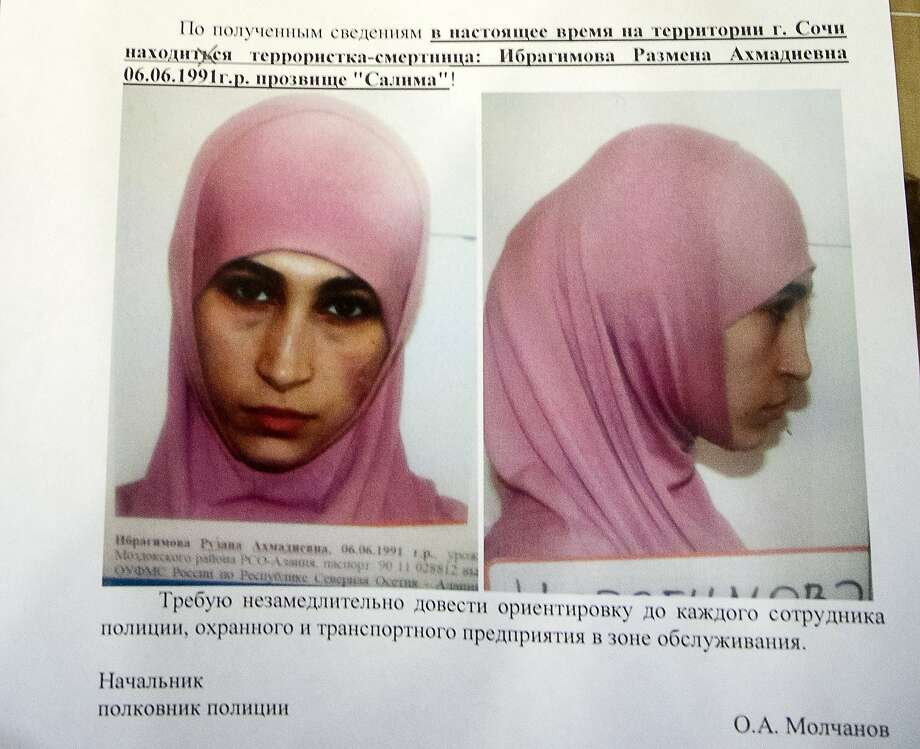 A police leaflet shows one of three women suspected of planning suicide bombings in Sochi, host city of the Winter Olympics that begin next month. Photo: Natalya Vasilyeva, Associated Press