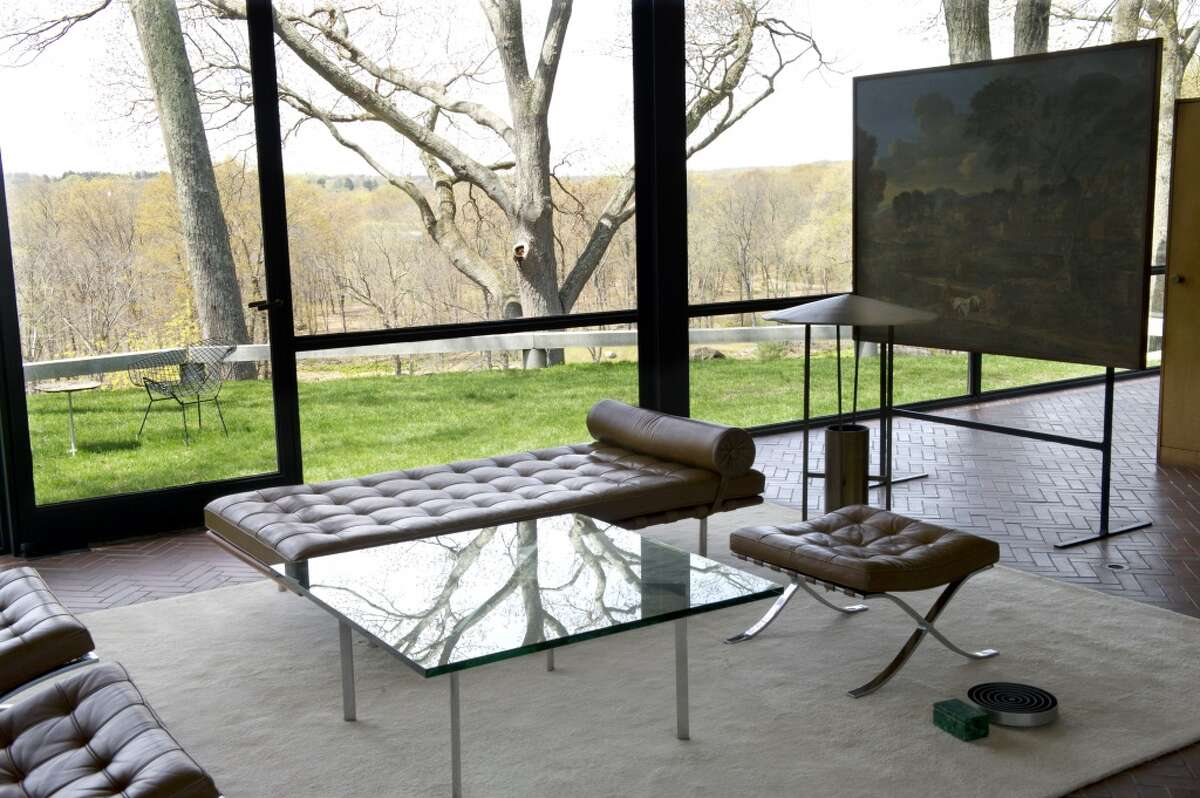 The Glass House in New Canaan on Tuesday, April 30, 2013, where artist Tauba Auerbach's piece,