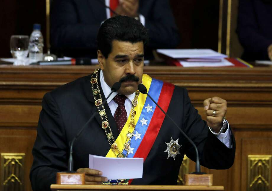 "Venezuela's President Nicolas Maduro delivered his annual state-of-the-nation address last week in Caracas. He said soap operas are spreading ""antivalues."" Photo: Fernando Llano, Associated Press"