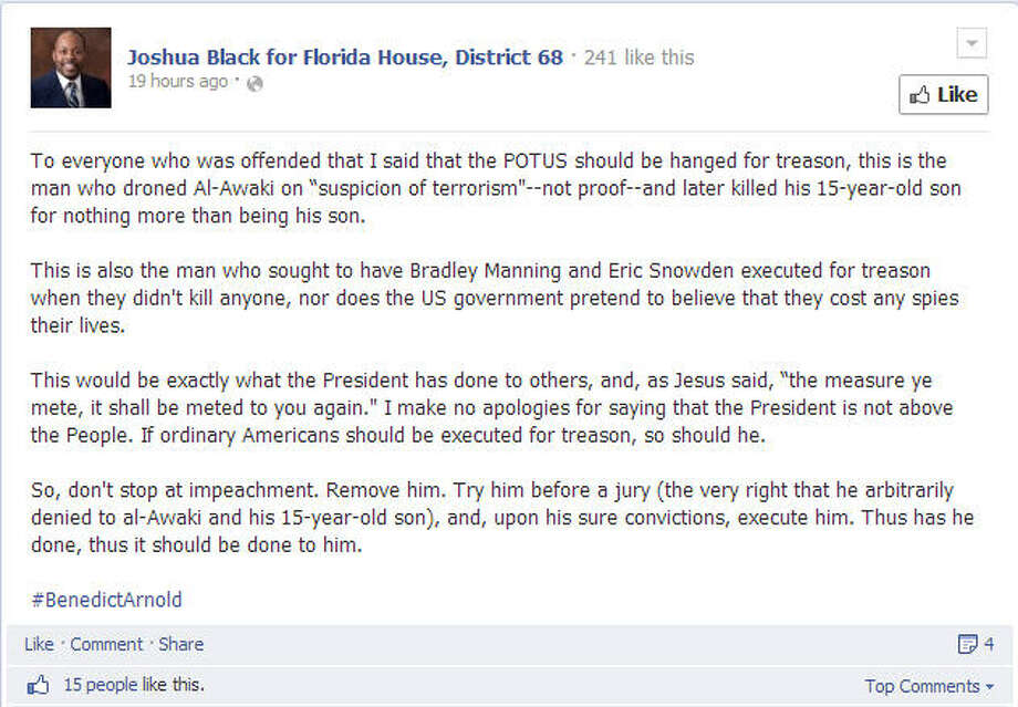 Then there's this guy: Joshua Black, a GOP candidate for Florida House District 88, tweeted out a message calling for Obama's execution on MLK Day. He didn't apologize or stop. He further reiterated his stance on  Facebook and Twitter, much to the ire of his fellow Republicans.