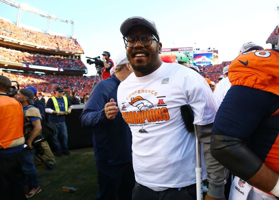 Von Miller  Broncos linebacker  The DeSoto product and Texas A&M (2007-2010) All-American is on injured reserve and will not play in the game. Miller suffered a torn ACL against the Texans on Dec. 22. Photo: Doug Pensinger, Getty Images