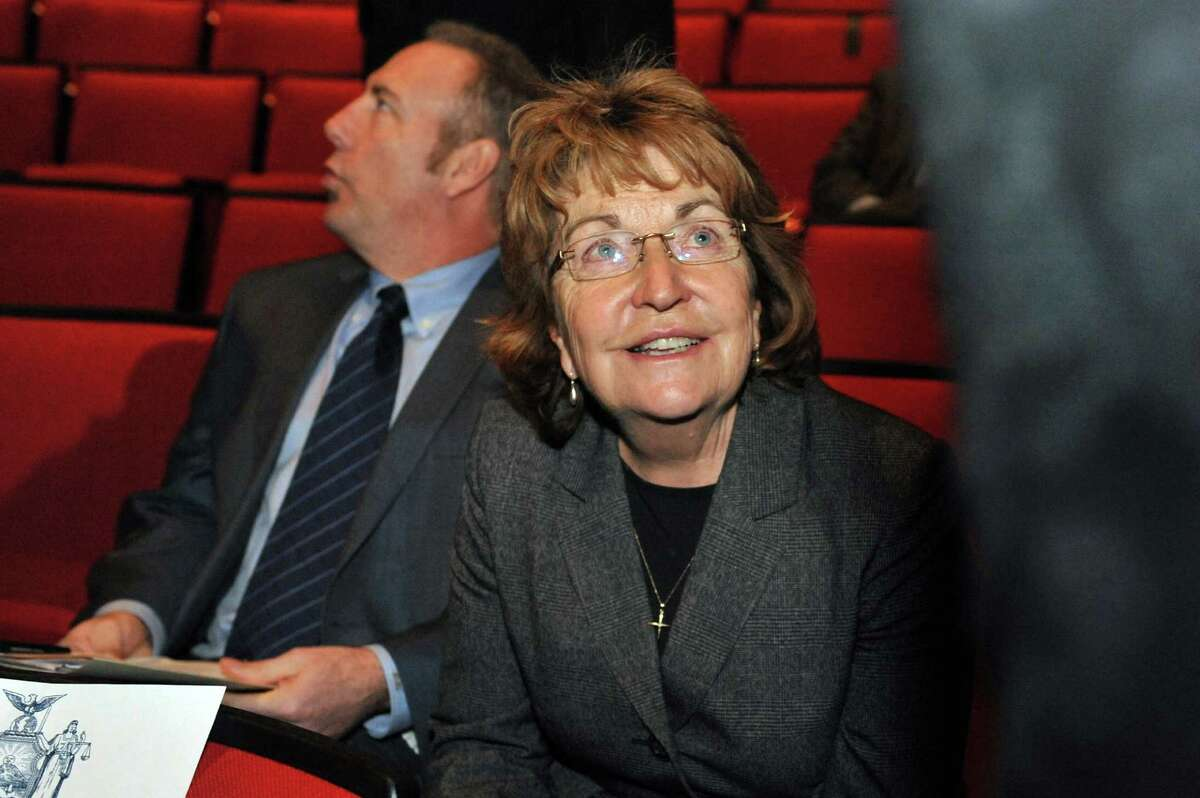 Sen. Betty Little arrives for the state budget address on Tuesday, Jan. 21, 2014, at The Egg in Albany, N.Y. (John Carl D'Annibale / Times Union)