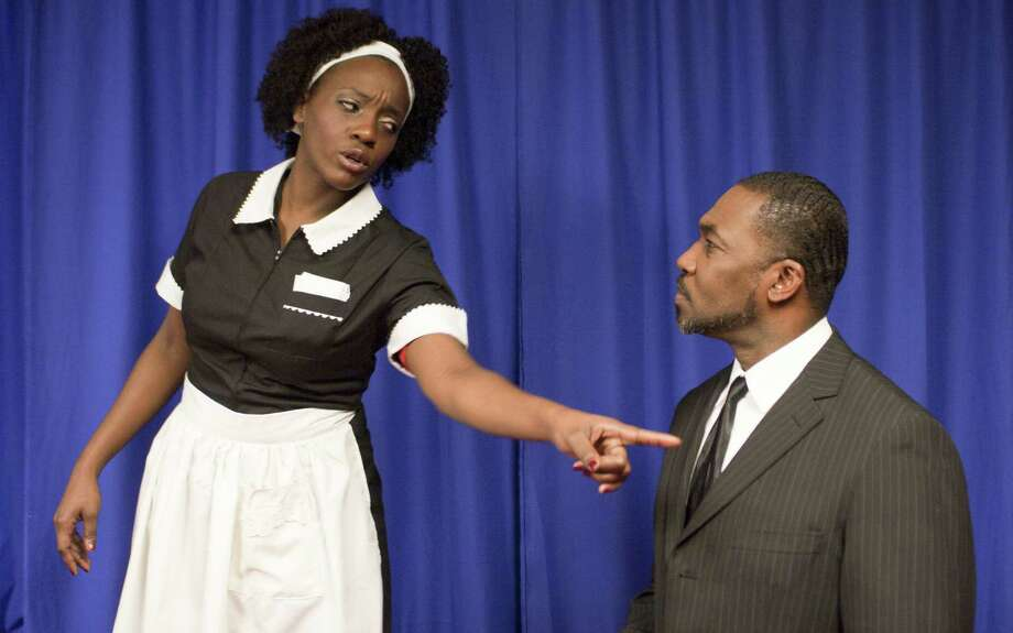 A mysterious woman (Jessica Mitchell) visits Martin Luther King Jr. (Kevin Majors) the night before his death. Photo: Courtesy Ron Abrams