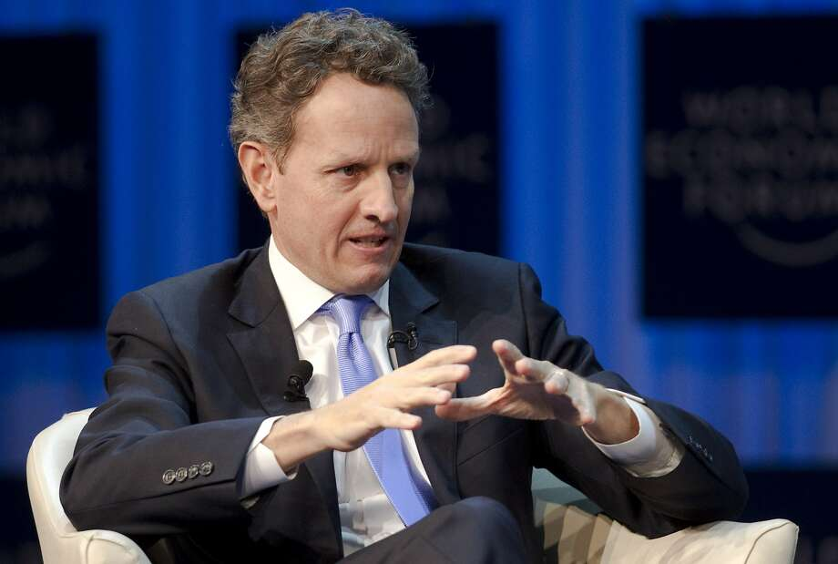 Then-Treasury Secretary Timothy Geithner speaks at the World Economic Forum in January 2012. Photo: Anja Niedringhaus, Associated Press
