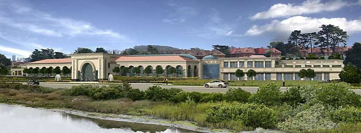 The one-story alternative submitted to the Presidio Trust by George Lucas for his proposed Lucas Cultural Arts Museum at Crissy Field.