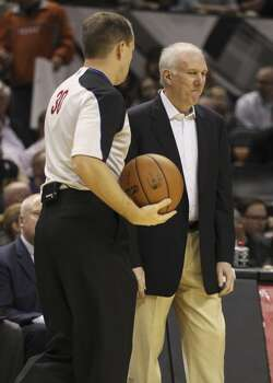 Spurs coach Gregg Popovich appears displeased with a call during the game against the Phoenix Suns at the AT&T Center on Wednesday, Nov. 6, 2013. Photo: Kin Man Hui, San Antonio Express-News