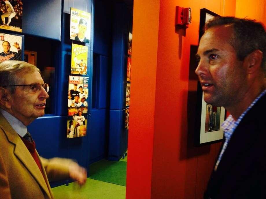 Reid Ryan and Milo Hamilton reminisce at the Nolan Ryan Museum. Photo: Jose De Jesus Ortiz, Houston Chronicle
