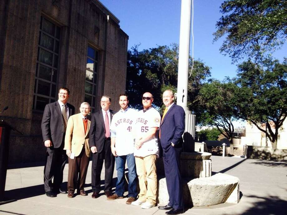 Councilman Costello poses with Astros owner Jim Crane, Milo Hamilton, Doug Brocail, Brett Oberholtzer and Anthony Bass. Photo: Jose De Jesus Ortiz, Houston Chronicle