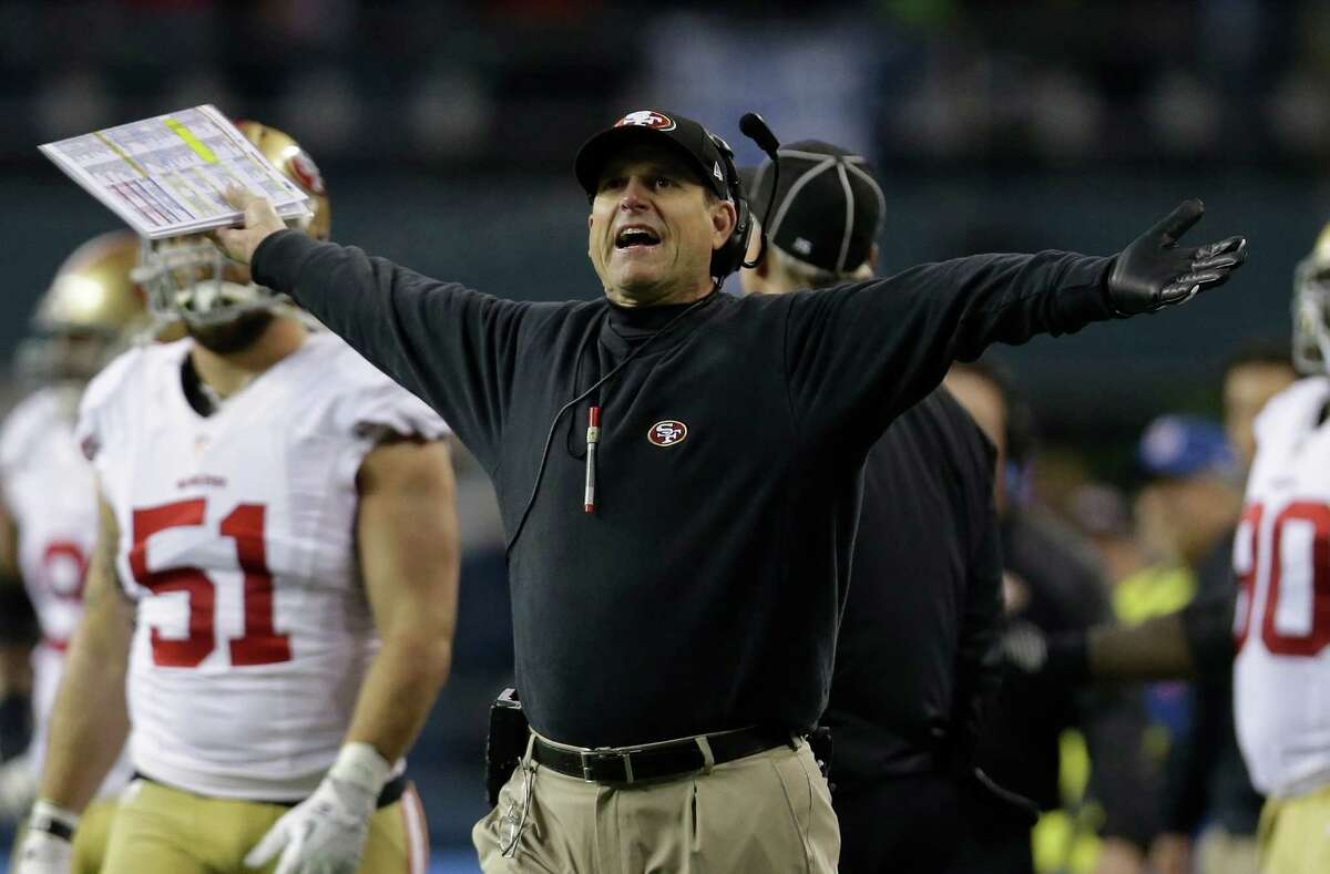 Jim Harbaugh The San Francisco 49ers head coach doesn't talk much trash, but he does have a habit of freaking out on the sidelines -- yelling at players, screaming about refs' calls and jumping around like a lunatic. Harbaugh did suggest the Seahawks cheat by using PEDs: