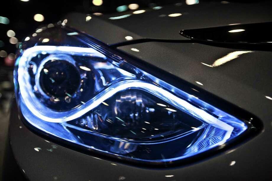 Hyundai Sonata Hybrid headlight on display at the Houston Auto Show. Photo: Marie D. De Jesus, Houston Chronicle / © 2014 Houston Chronicle