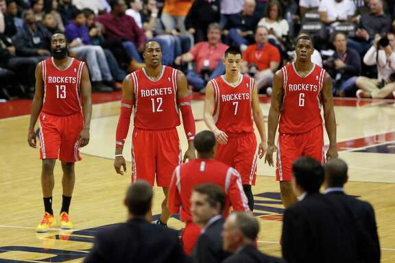 The Rockets' floor leader? Well, guard James Harden, from left, center Dwight Howard, guard Jeremy Lin and forward Terrence Jones walk shoulder to shoulder with no one stepping up as the take-charge guy when the team needs a collective kick in the shorts.