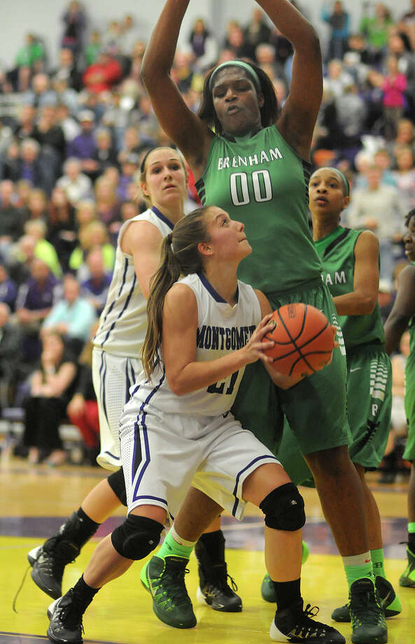 Delaney Maberry and Montgomery were able to take down Brenham and 6-8 post Teaira McCowan. Photo: Jerry Baker, Freelance