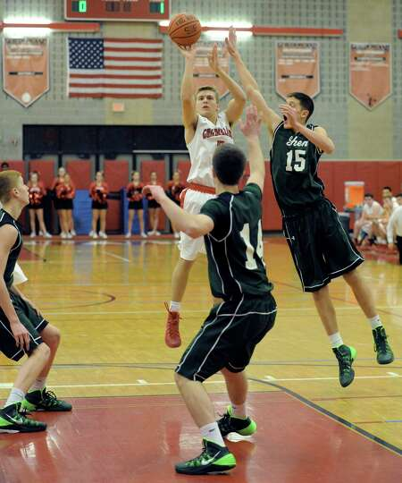 Guilderland's Billy Floyd goes in for a score during their boy's high school game against Shenendeho