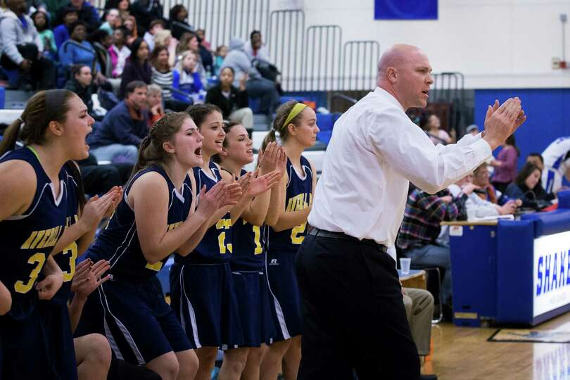 Averill Park head coach Sean Organ cheers on his team during the girls' basketball game against Shak