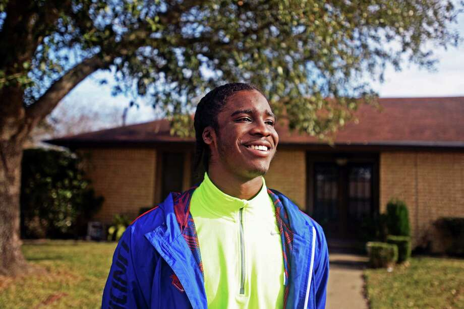 Ozen Panthers football player Tony Brown stands outside of his place of residence after visiting with the University of Texas head football coach Mack Brown on Thursday.  Michael Rivera/@michaelrivera88