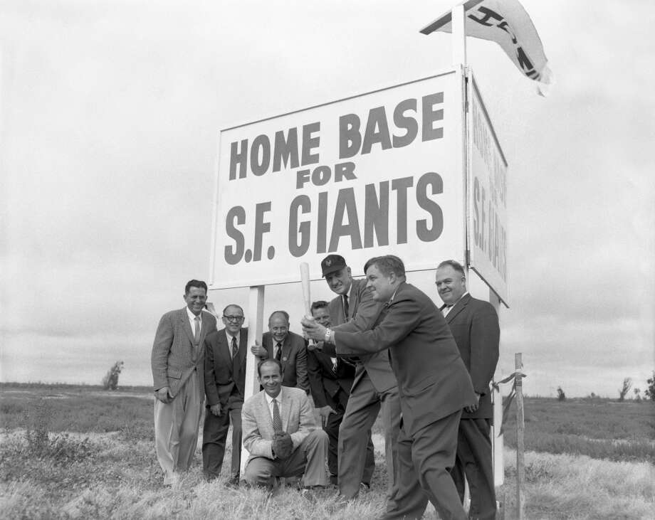 San Francisco Giants staff gather at Candlestick Point in 1957 to promote where the new home of the Giants — and later the 49ers  —will be built. Photo: Underwood Archives, Getty Images