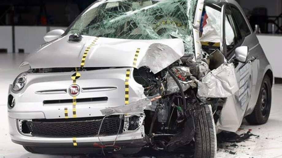 The Fiat 500 didn't fair well in the Insurance Institute for Highway Safety crash test. See how the rest did in this slideshow. Photo: Uncredited, Insurance Institute For Highway Safety