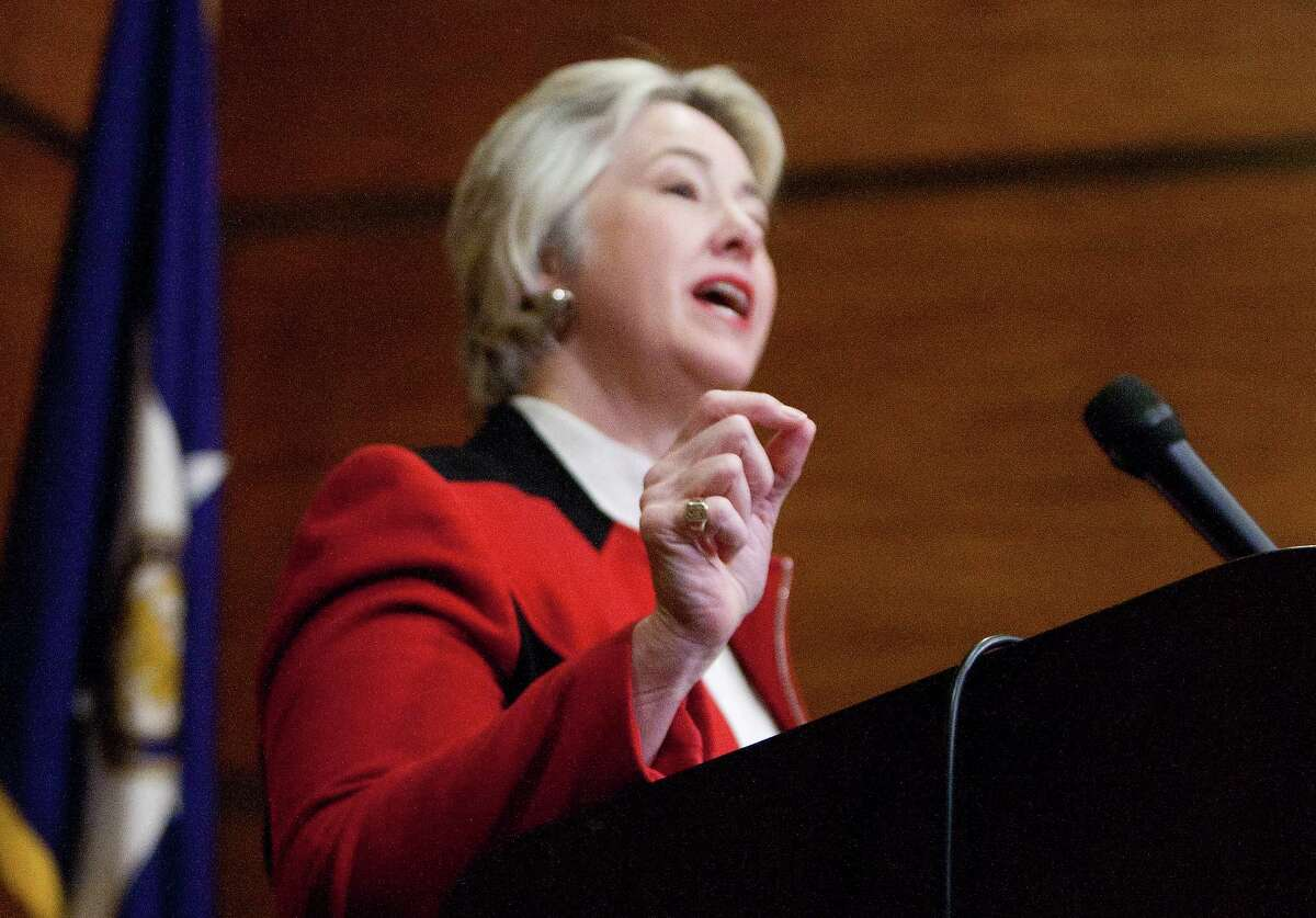 Mayor Annise Parker announces that the City of Houston has filed a lawsuit against the Firefighter's Pension Fund seeking to force negotiations, Wednesday, Jan. 22, 2014, in Houston.