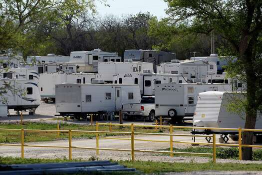 Trailers are packed into a gravel space at Lonesome Creek RV Resort near Kenedy  on  March 14, 2013. Photo: TOM REEL, San Antonio Express-News / San Antonio Express-News
