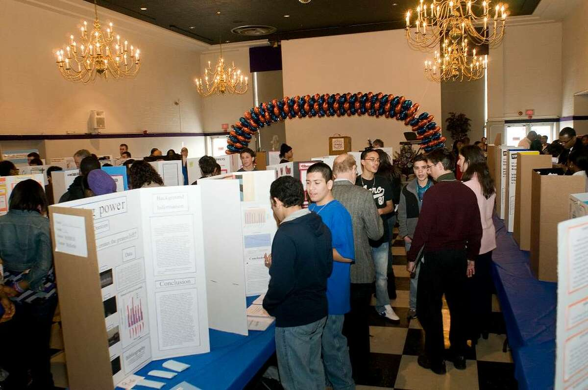 Students from 25 of the Bridgeport Public Schools gathered for Science Expo 2010 in the Student Center at the University of Bridgeport in Bridgeport on Wednesday morning, Feb. 3, 2010. Students presented projects to judges, vying for cash prizes and scholarships.