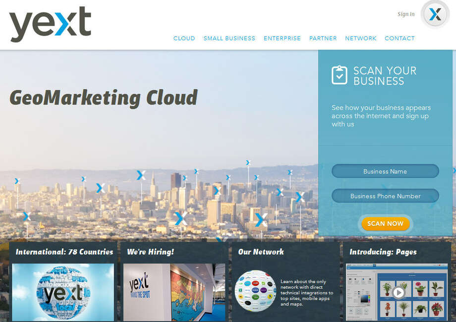 YextThe company specializes in GeoMarketing and provides a cloud network for companies to store and manage local content, and to push it to larger markets.Headquarters: New York CityWebsiteSource: Forbes