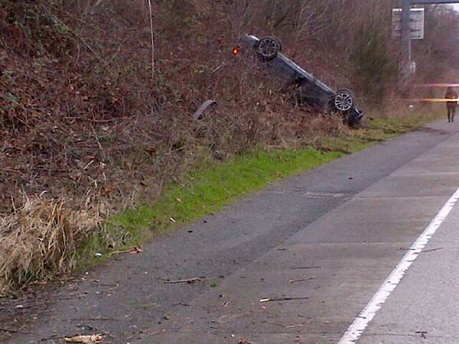 A BMW rolled into an embankment off Interstate 5 near Boeing Field Wednesday morning in a two-car incident. Photo by State Patrol Photo: State Patrol