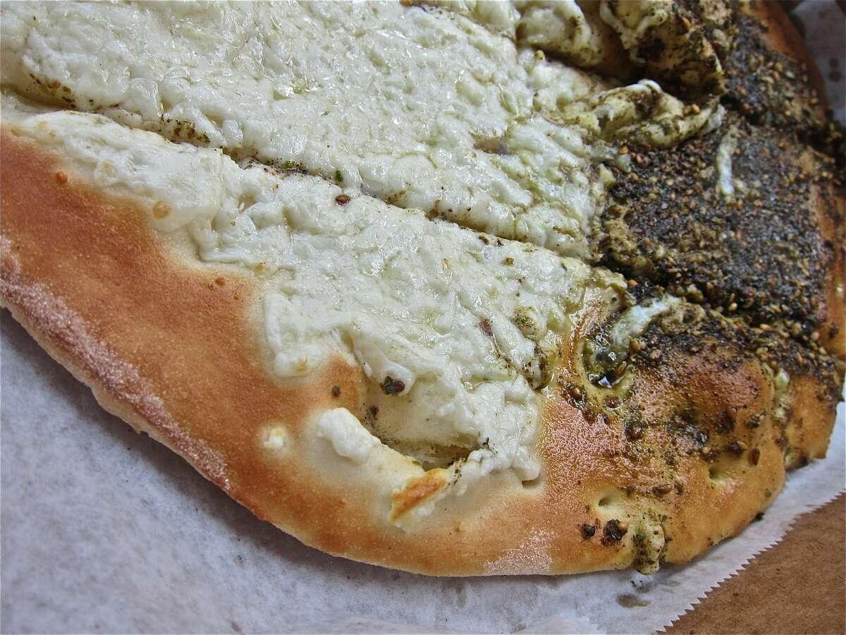 A close look at the akkawi-and-za'atar flatbread at Cedars Bakery.
