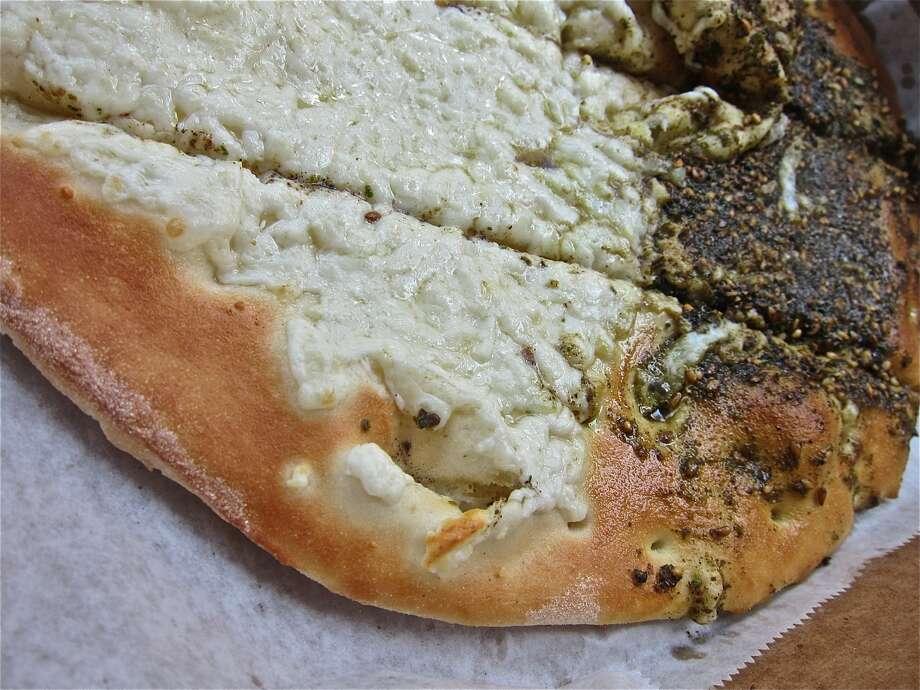 A close look at the akkawi-and-za'atar flatbread at Cedars Bakery. Photo: Alison Cook