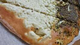 A close look at the akkawi-and-za'atar flatbread at Cedars Bakery.