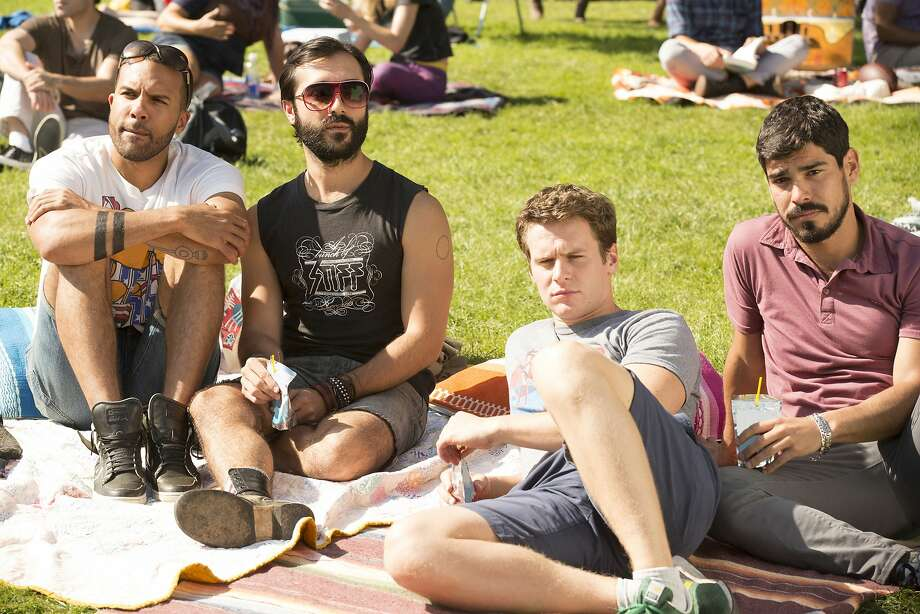 "O.T. Fagbenle (left), Frankie Alvarez, Jonathan Groff and Raul Castillo in ""Looking,"" a new HBO series about gay men in their 20s living in San Francisco. Photo: John P. Johnson, HBO"