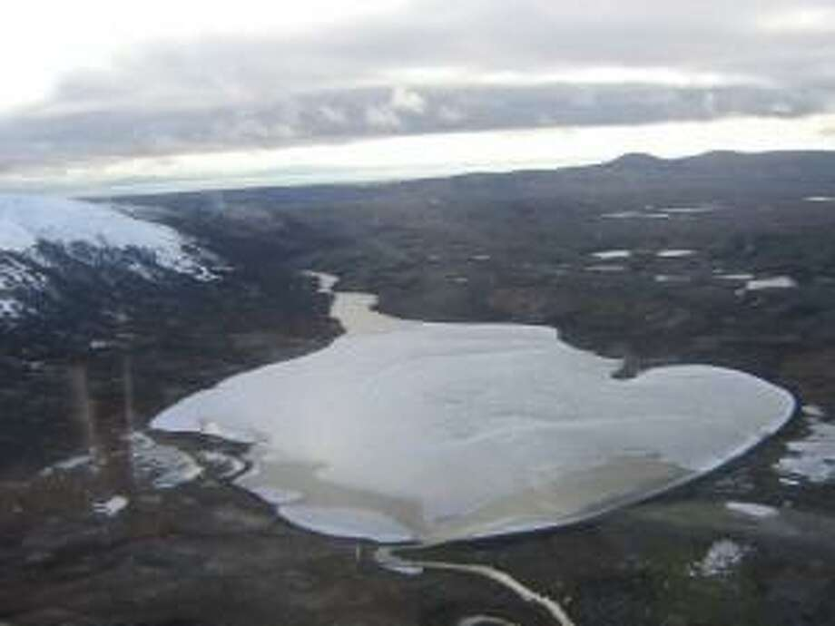 Aerial view of site for giant proposed Pebble Mine near Bristol Bay in Alaska. Frying Pan Lake, pictured here, would disappear beneath a giant pile of tailings. Bristol Bay is one of the world's greatest fisheries.