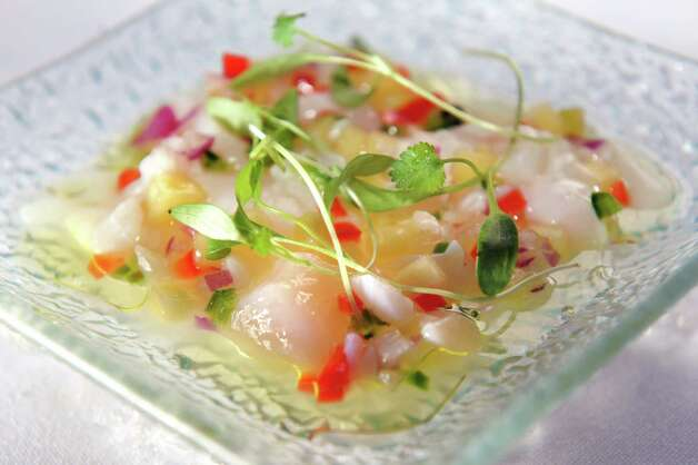 Scallop ceviche with mango chiles and micro cilantro on Friday, Jan ...