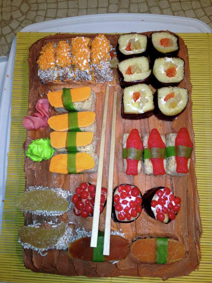 Anne Manzella, from Guilderland, is an art teacher, and we can see why after she submitted this sushi platter cake for our Cute Food Art Contest. About two dozen readers entered the contest, and Manzella won with this birthday cake she made for her son featuring Rice Krispie treats, dried fruits and fruit leather, Red Hots and Swedish Fish, among others. (Anne Manzella)