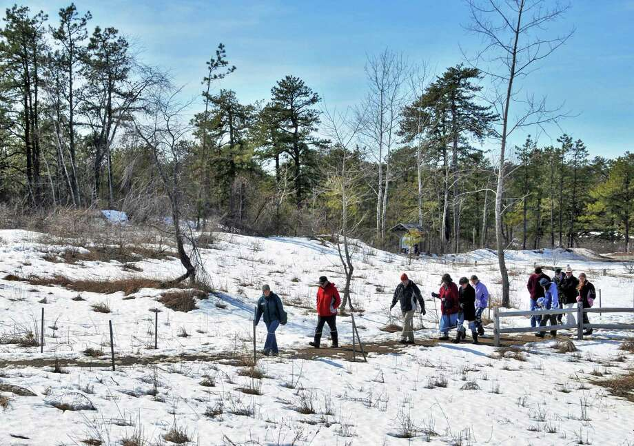 4. Take a hike. Take advantage of a local park or preserve, such as the Pine Bush, to enjoy bird-watching, animal-tracking and snowshoeing. Photo: John Carl D'Annibale / 00007778A