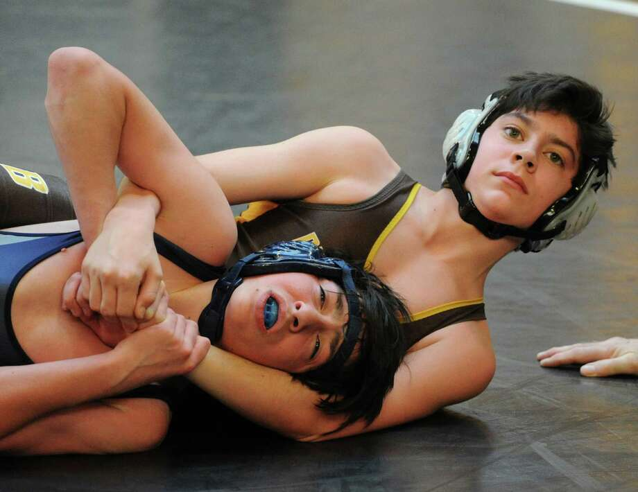 The Brunswick School Invitational Wrestling Tournament at the school in Greenwich, Saturday, Jan. 18, 2014. Photo: Bob Luckey / Greenwich Time
