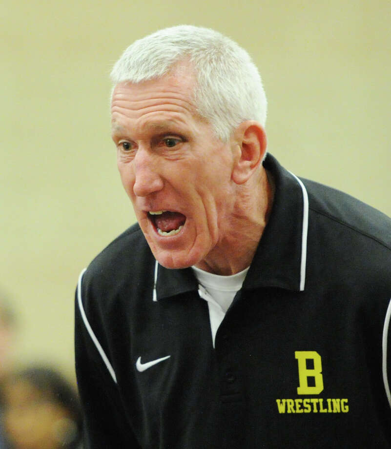 Brunswick School coach Tim Ostrye during the Brunswick School Invitational Wrestling Tournament at the school in Greenwich, Saturday, Jan. 18, 2014. Photo: Bob Luckey / Greenwich Time