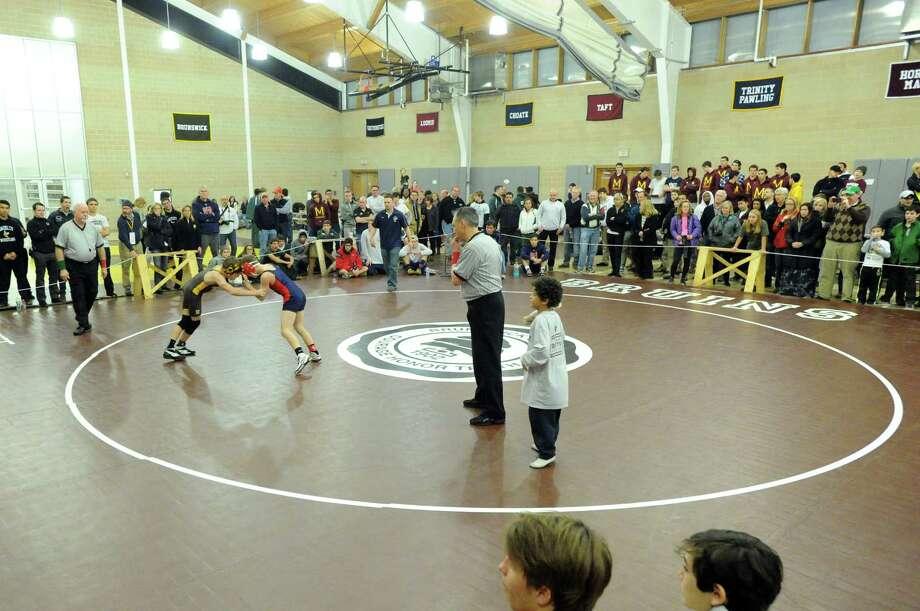 The Brunswick School Invitational Wrestling Tournament at the school in Greenwich, Saturday, Jan. 18, 2014. Photo: Bob Luckey / Greenwich Time
