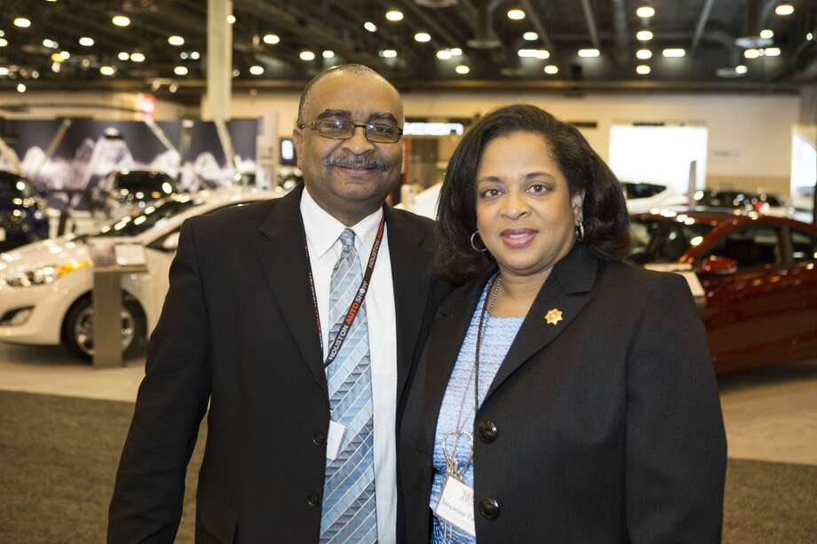 Troyce Carter, left, and Jacqueline Fortune attend the Houston Auto Show's 30th Anniversary Preview Party Tuesday, Jan. 21, 2014, in Houston. ( Nick de la Torre