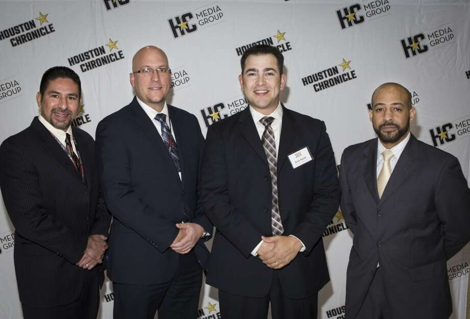 Left to right; Joe Gabino, Jacob Hooper, Jason Kyrish, and Tony Walker attend the Houston Auto Show's 30th Anniversary Preview Party Tuesday, Jan. 21, 2014, in Houston. ( Nick de la Torre
